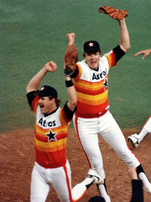 Respect the rainbow? The Houston Astros uniforms of the 1970s have aged better than others from that era, but they're still dated.