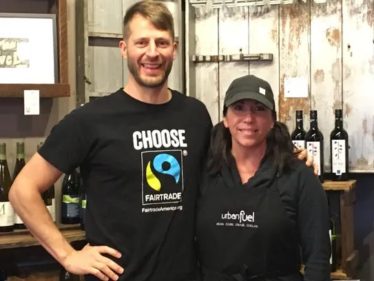 Kyle Freund of Fair Trade America poses with Terri