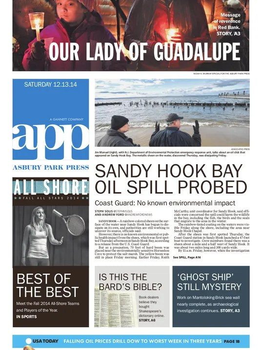 Asbury Park Press Front Page