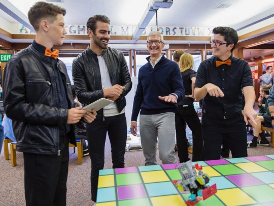 Apple CEO Tim Cook with actor and deaf advocate Nyle