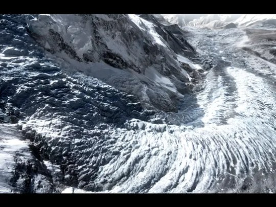 A image of the dangerous Khumbu Icefall on Mt. Everest,
