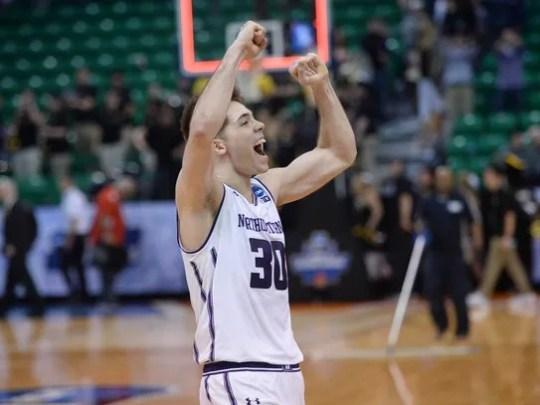 Northwestern Wildcats guard Bryant McIntosh celebrates