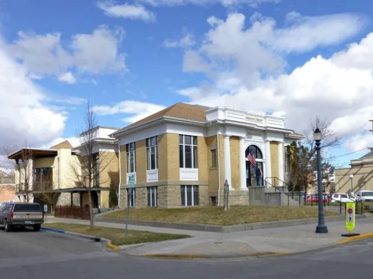 The Carnegie Library, now the Livingston-Park County Public Library, is one of the buildings on the Livingston Historic District tour in Livingston, Montana