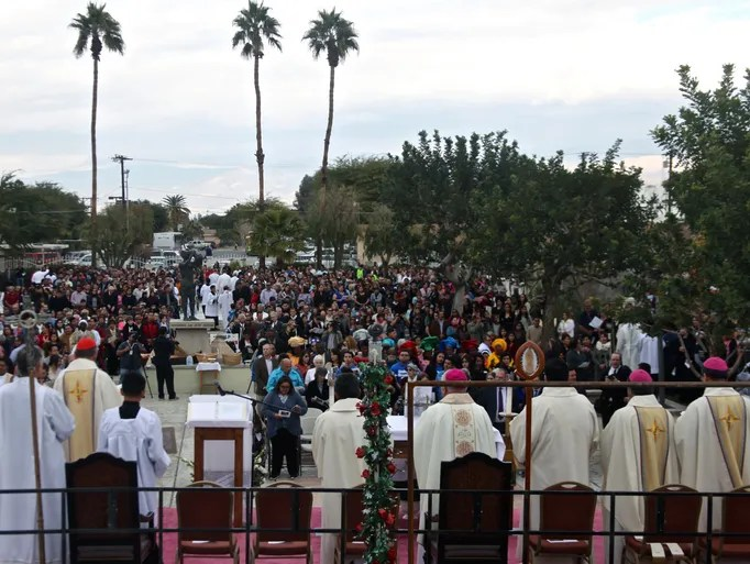 People gathered at Our Lady of Soledad Church in Coachella