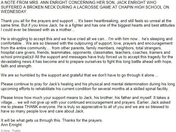Mother of Chapin Lacrosse Player Releases Statement | USA TODAY High