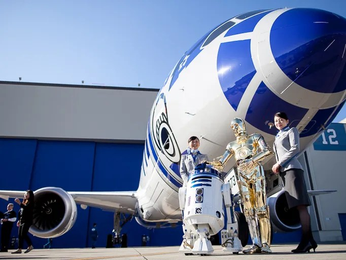 Star Wars characters R2-D2 and C-3P0 pose with  All