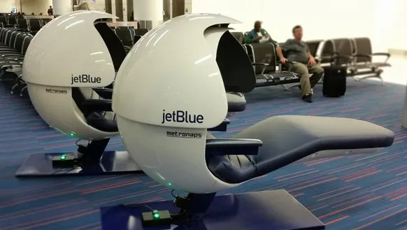 energy pod chair used wedding covers for sale uk jetblue makes it easier to catch some z's at jfk's t5