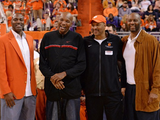 Former Clemson basketball players and first round NBA picks, from left, Dale Davis, Sharone Wright, Larry Nance, and Elden Campbell were part of the Clemson basketball alumni that were honored at half time of the Tigers game against Boston College Friday, January 31,  2015 at Clemson's Littlejohn Coliseum.