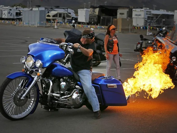 Mike Burns of Lancaster, California shows his custom