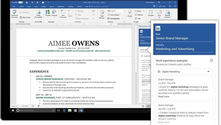 microsoft and linkedin resume