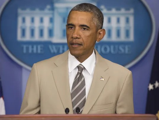 Obama in tan suit