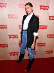 Hailey Baldwin attends the Levi's Times Square Store