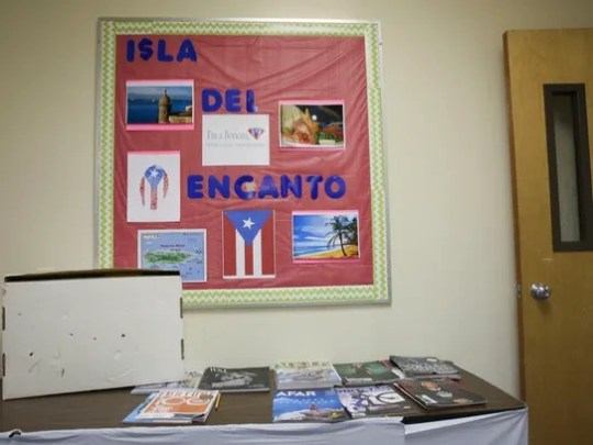 In one of the classrooms, the wall is decorated with