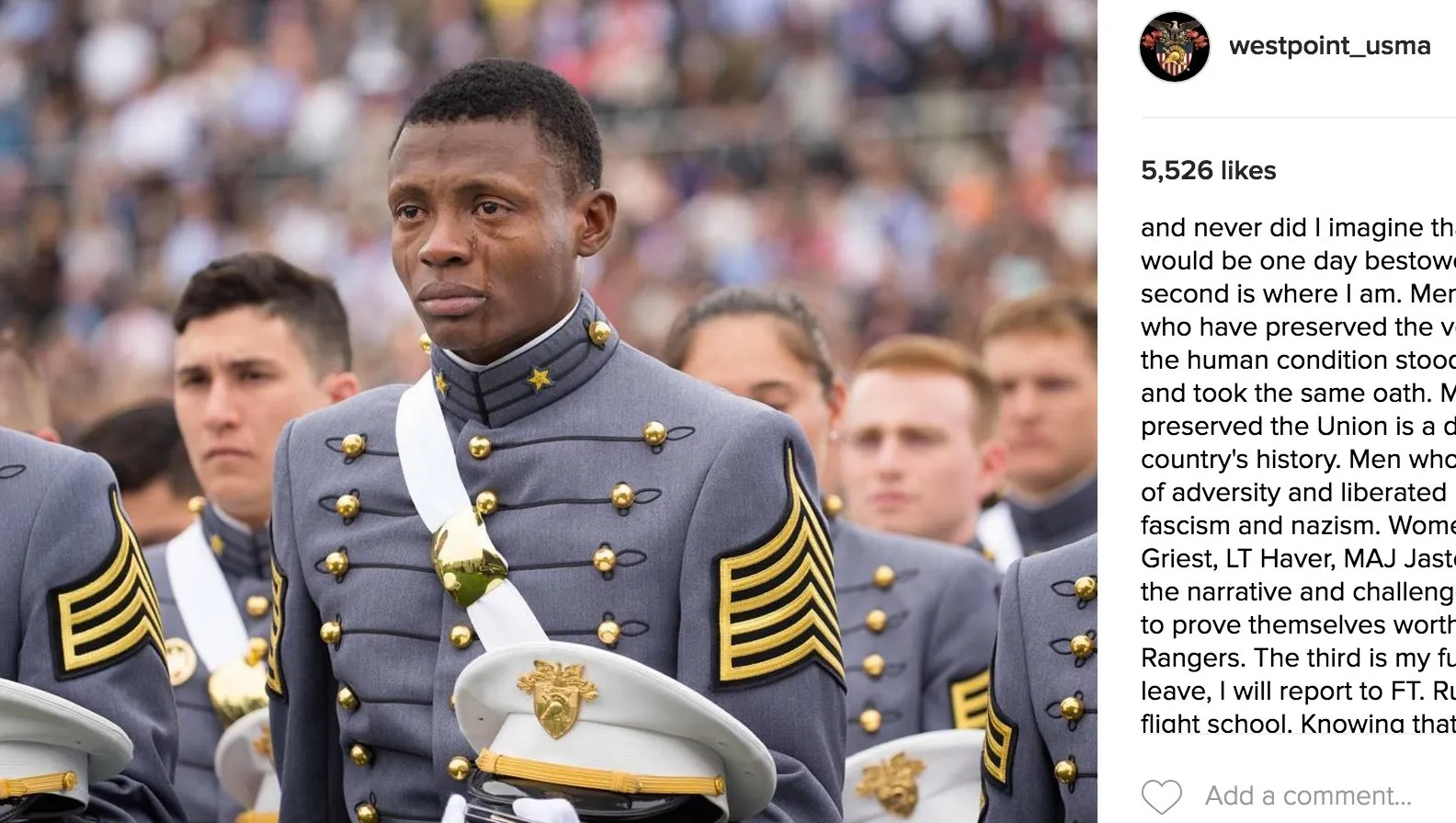haiti born cadet weeps