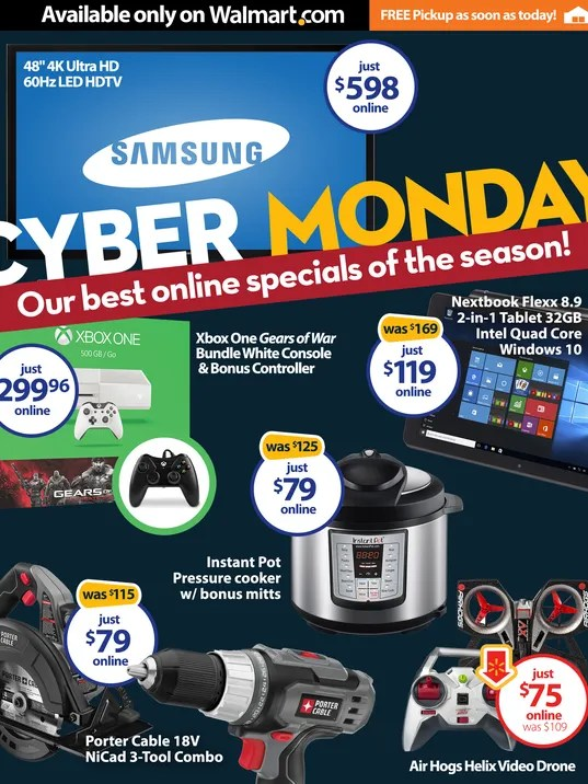 walmart cyber monday deals start next sunday night one herald. Black Bedroom Furniture Sets. Home Design Ideas