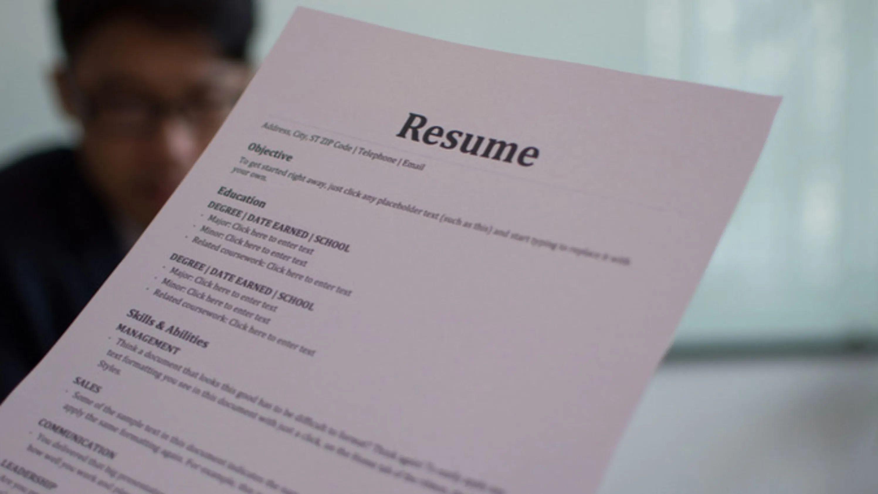 cv or resume in usa