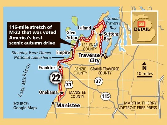 116-mile stretch of M-22 that was voted America's best