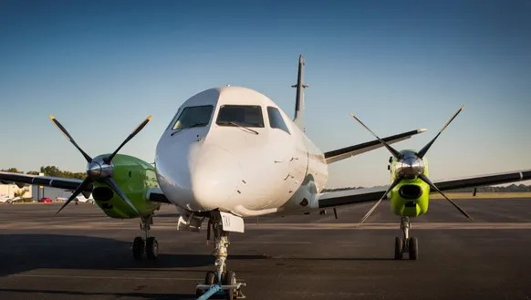 A Saab 340B turbo prop that will be used by GLO.