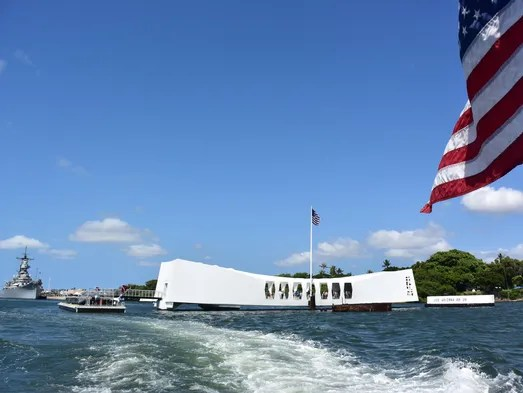 Looking back at the USS Arizona Memorial, and the USS