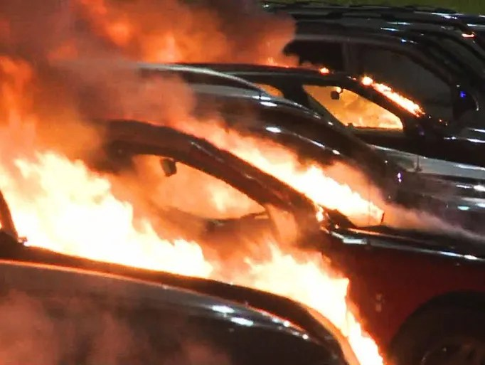 A car dealership was set on fire overnight in Ferguson,