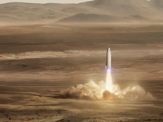 Concept image of the spaceship portion of SpaceX's