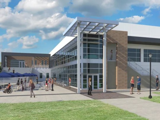 This is a rendering of the student union under construction at the Eastern Florida State College Melbourne campus.