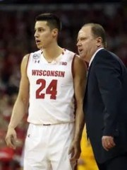 Wisconsin guard Bronson Koenig, shown here with coach