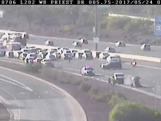 Two additional accidents occurred on the Loop 202 near the roll over as DPS officers responded to the scene