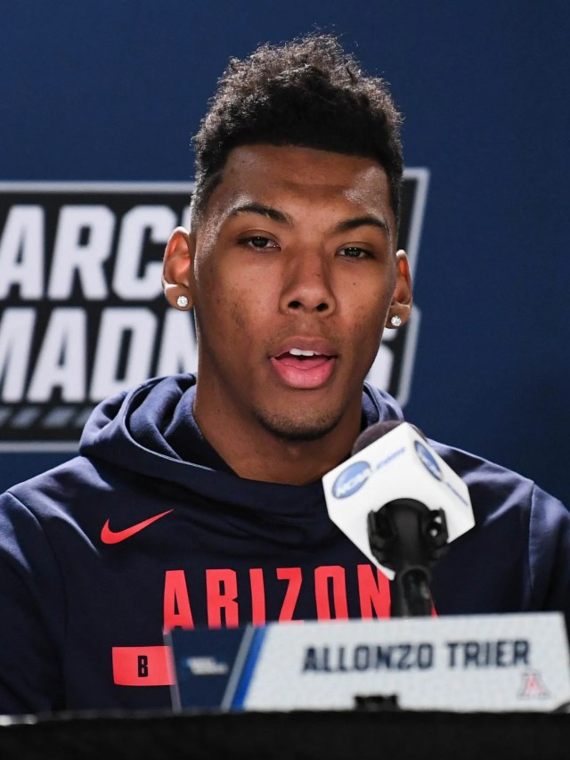 Mar 14, 2018: Arizona Wildcats guard Allonzo Trier (35) speaks at a press conference during the practice day before the first round of the 2018 NCAA Tournament at Taco Bell Arena.