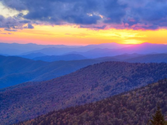 Autumn sunset over the Great Smoky Mountains National Park