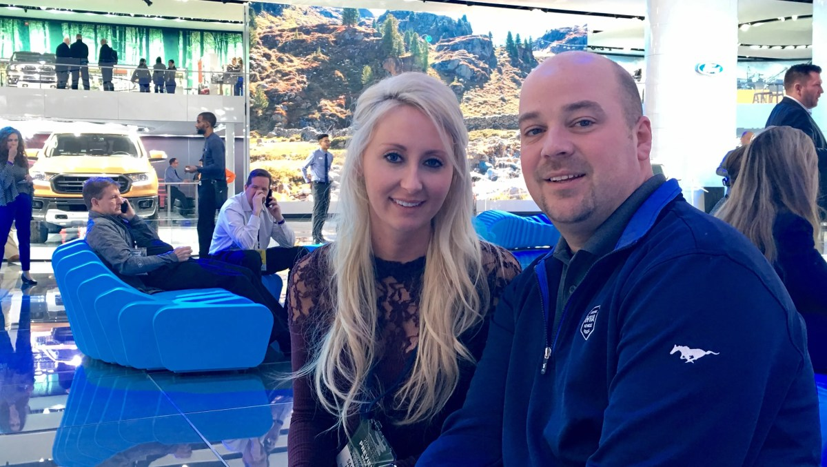 Samantha and Sean Kiernan plan to attend the Detroit auto show every day, where they presented the '68 Mustang Bullitt they own.