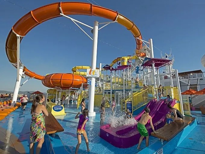 The WaterWorks aqua park on Carnival Cruise Lines' Carnival Breeze features a 312-foot-long Twister waterslide and the DrainPipe slide attraction.