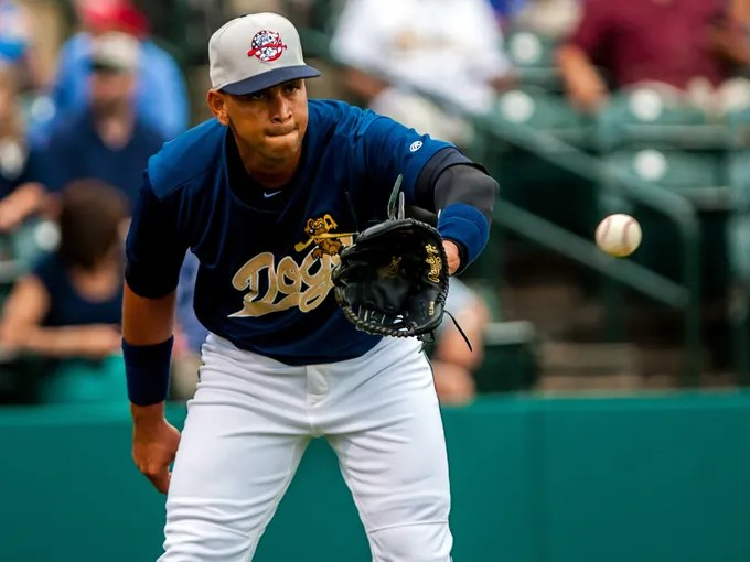 New York Yankees third baseman Alex Rodriguez, as part of the Charleston RiverDogs, appears in a rehab game against the Rome Braves at Joseph P. Riley Jr. Park.