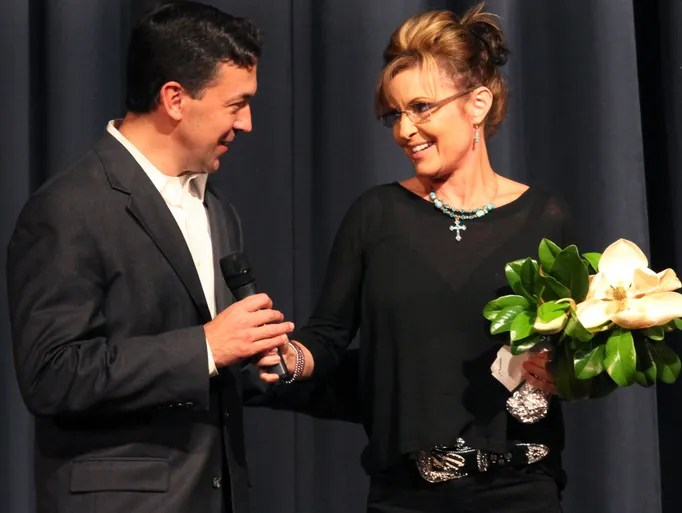 Former Alaska Governor and vice presidential nominee Sarah Palin introduces U.S. Senate challenger Chris McDaniel at a rally  Friday, May 29, 2014 at Jones County Junior College in Ellisville, Miss.  McDaniel is challenging Republican Sen. Thad Cochran.  (AP Photo/George Clark)