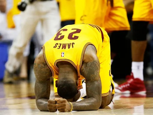 LeBron James, exhausted after an incredible performance