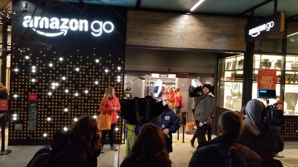 Crowds outside the Amazon Go checkout-free convenience