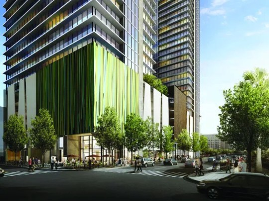 An artist's rendering of a proposed apartment project