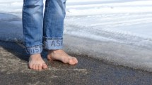 U. Man Barefoot Charity In Icy Winter
