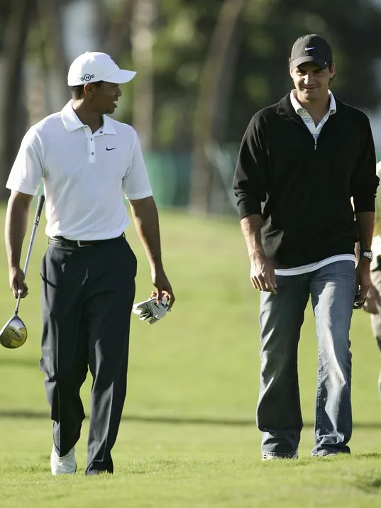 Image result for Tiger Woods looking to Roger Federer for inspiration