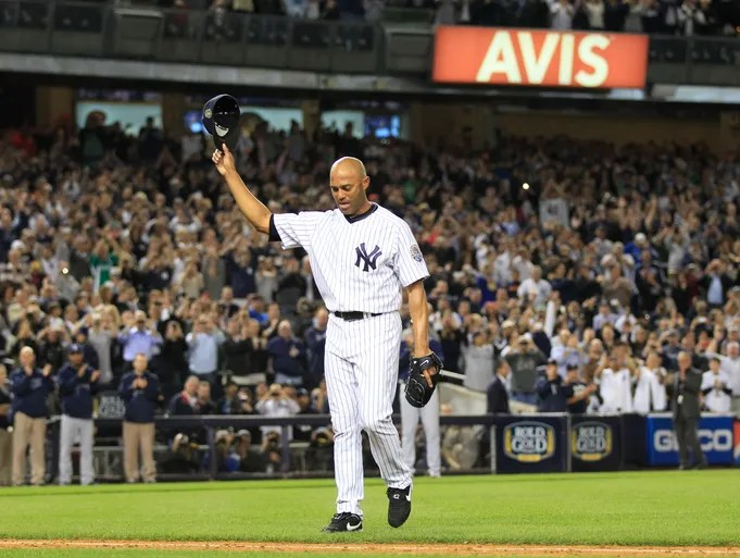 Yankees closer Mariano Rivera tips his cap to the crowd in the 9th inning in his final game at Yankee Stadium on Sept. 26.