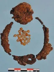 An iron collar decorated with beads was found in the