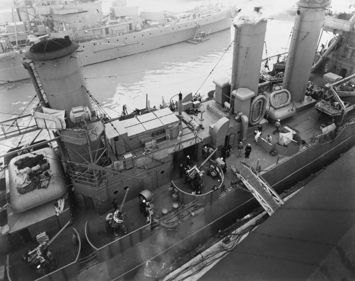 With Japan about to take control of the Philippines, the USS Trout kept the bullion out of the enemy's hands. The USS Detroit, above, carried it to port in San Francisco.