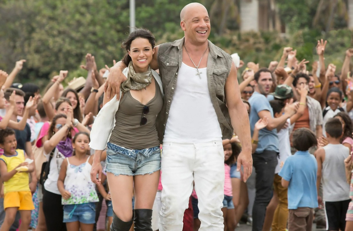 """Letty (Michelle Rodriguez) connects with Dom (Vin Diesel) in """"The Fate of the Furious."""" On the heels of 2015's """"Furious 7,"""" one of the fastest movies to reach $1 billion worldwide and the sixth-biggest global title in box-office history, comes another chapter in one of the most popular motion-picture serials of all time."""