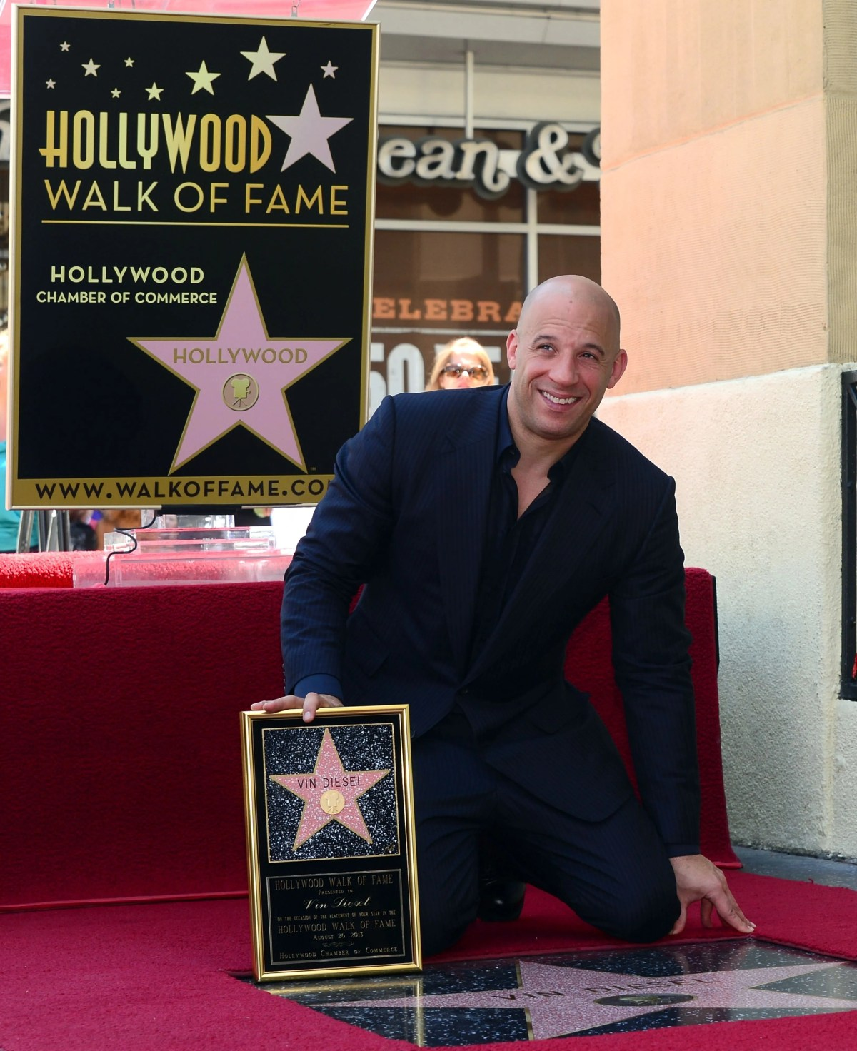 Vin Diesel poses with his 'Star' ceremony on the Hollywood Walk of Fame in 2013. The actor received the 2,504th Star on the Hollywood Walk of Fame in the Category of Motion Pictures.