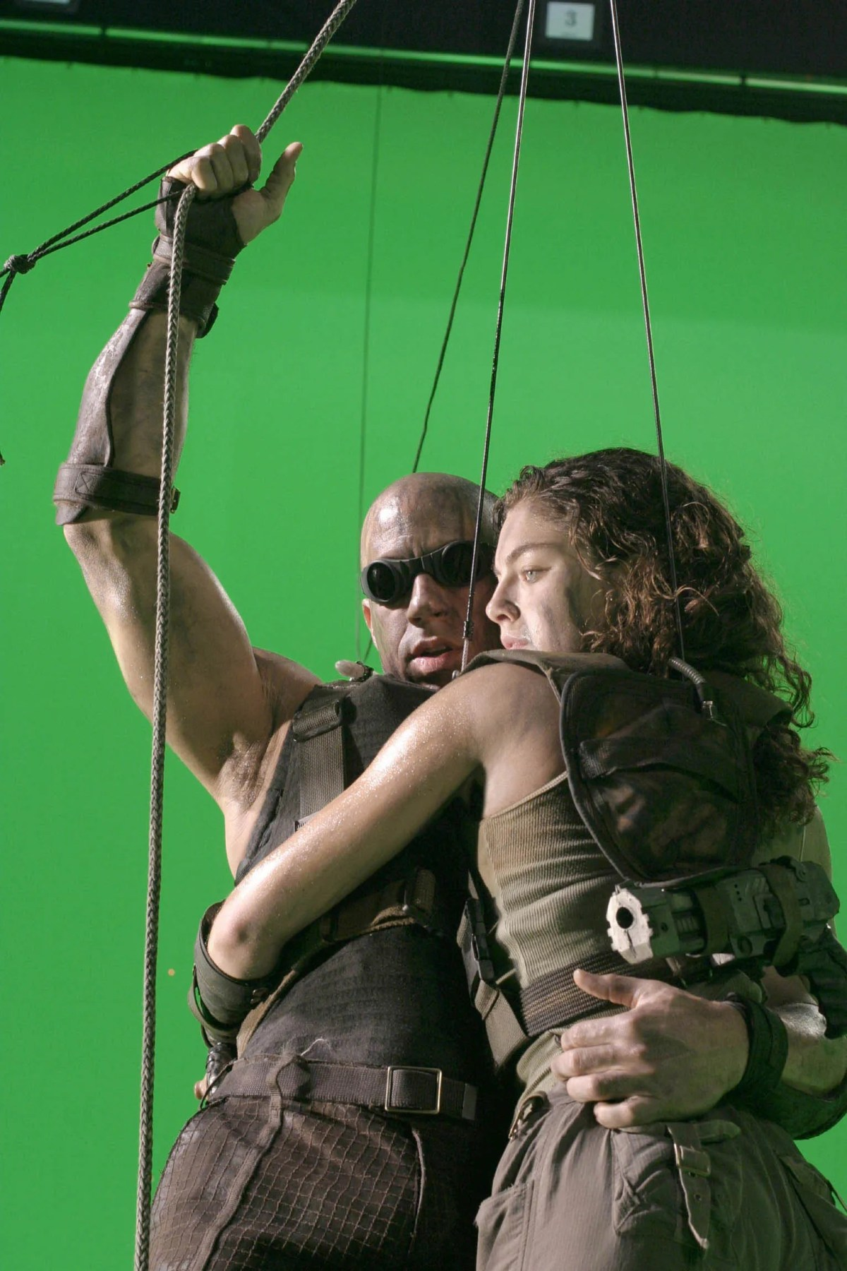 """Vin Diesel and Alexa Davalos work in front of a green screen on the set of """"The Chronicles of Riddick."""""""