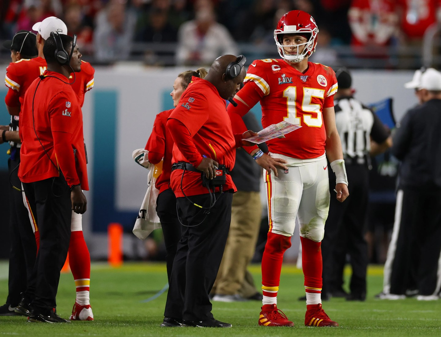 Patrick Mahomes, shown during the Super Bowl in February, credits Eric Bieniemy, left, with helping him to remain calm in critical moments.