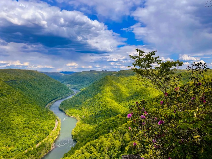 View from a trail along the New River Gorge rim
