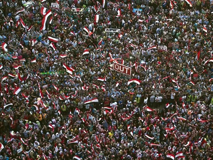 Protesters demonstrate at Tahrir Square.