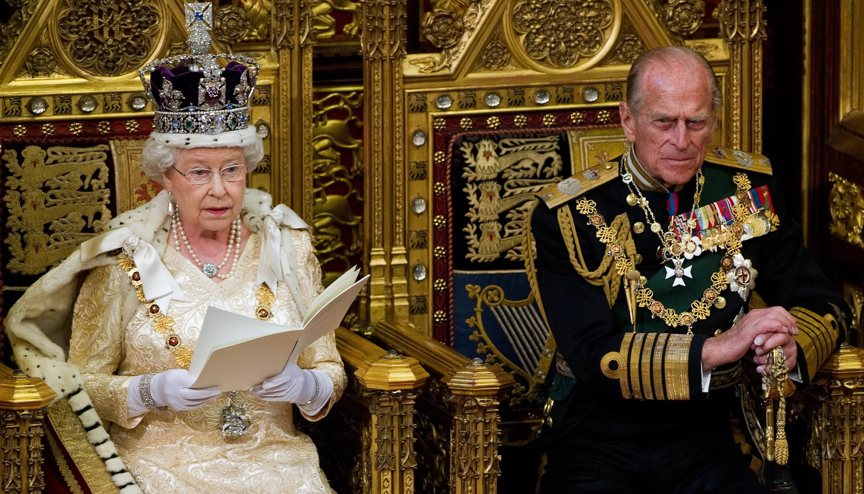 British Prince Philip is seen with Queen Elizabeth at the opening of Parliament in 2010.