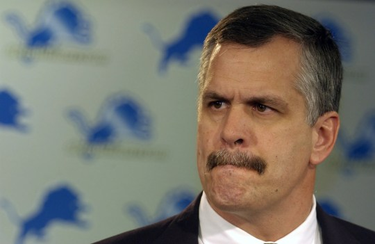 Lions CEO Matt Millen reacts to a question from the media about the firing of head coach Marty Mornhinweg on Monday, Jan. 27, 2003, at the Lions practice facility in Allen Park.